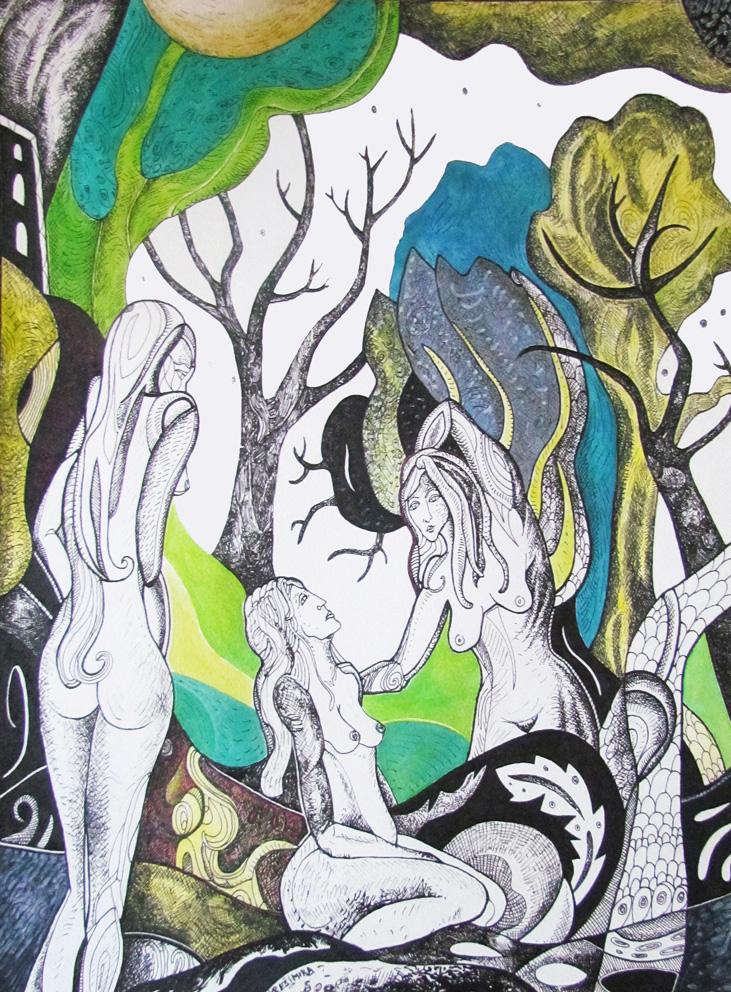 Krešimira Gojanović, ''Vilinsko sijelo'', crtež tuš na papiru, 40x30 cm