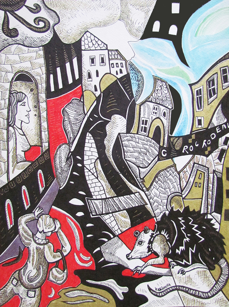 "Krešimira Gojanović, ""Zagrebačke urbane legende"", crtež tuš na papiru, 40x30 cm"