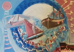 Aida Hebib Raguž, ''Sailing 2'', akril na platnu, 50x70 cm