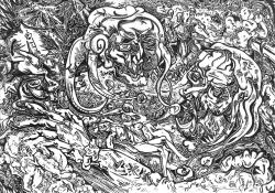 Svebor Vidmar, Iz ciklusa ''Balade Petrice Kerempuha'', tuš na papiru, 70x100 cm, 1992