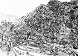 Svebor Vidmar, ''Imaginarni krajolik'', tuš na papiru, 28,8x40 cm, 2017