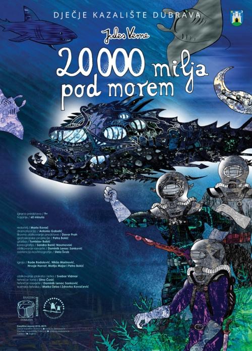 Svebor Vidmar, plakat za kazališnu predstavu ''20000 milja pod morem'', digitalna grafika na papiru, 70x50 cm, 2018