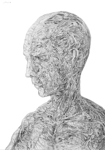 Svebor Vidmar, ''Ispod kože 4'', olovka na papiru, 42x29,7 cm, 2018