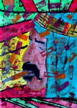 "Denis Kaplan, ""Zappa's Daydream"", tempera na papiru, 40x29 cm"