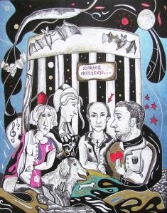 Krešimira Gojanović, ''Podobni umjetnik - usprkos okruženju....'', crtež tuš na papiru, 50x40 cm