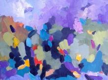 "Tatjana Kreštan, ""Plavi komadići sjećanja"", akril na papiru, 24x32 cm"