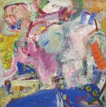Tatjana Malešević, Kolo sreće, 1987., tempera, kolaž/platno, 50x50 cm