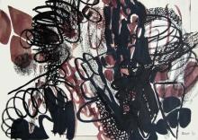 Tatjana Malešević, iz ciklusa Crno-smeđe apstrakcije, 1990., tuš, tempera/papir, 50x71 cm