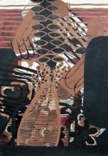 Tatjana Malešević, iz ciklusa Crno-smeđe apstrakcije, 1990., tuš, tempera/papir, 71x50 cm