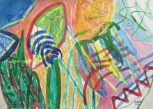 Tatjana Malešević, iz ciklusa Apstrakcije, 2008., tuš u boji, pastel/papir, 50x70 cm