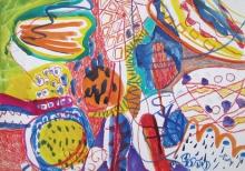 Tatjana Malešević, iz ciklusa Apstrakcije, 2005., tuš u boji, pastel/papir, 50x70 cm