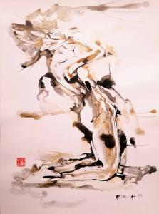 Alfred Freddy Krupa, ''Klečeći akt'', francuska sepia i crni lavirani tuš, pero i kist, 64x47 cm
