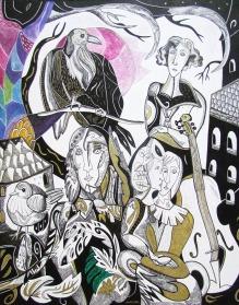 Krešimira Gojanović, ''Zakon za neposlušnog umjetnika'', tuš / kombinirana tehnika na papiru, 50x40 cm