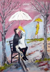 Zlatko Isaković, ''Ljubavnici'', akril na kartonu, 50x35 cm