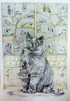 Lora Elezović, ''Maca Papučarica'', tuš na papiru, 30x23 cm