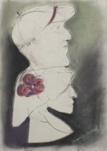 "Antonija Cesarec, ''Dvoje"", suhi pastel na papiru, 50x36 cm"