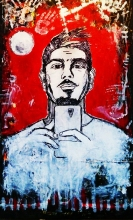 Tomislav Šilipetar, ''Tomislav Šilipetar, ak. slikar'', akril na papiru, 150x90 cm