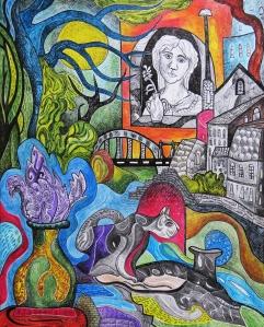 """Krešimira Gojanović, """"Život umjetnice – pred oluju"""", crtež tuš / kombinirana tehnika na papiru, 50×40 cm"""