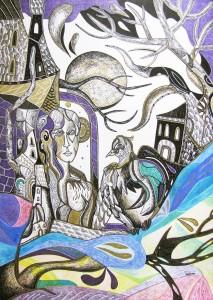 Krešimira Gojanović, ''Glasnik novih vjetrova'', crtež tuš / kombinirana tehnika na papiru, 50×40 cm
