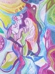 Krešimira Gojanović, ''Ljubav pod pandemijom: nimfa i pan'', akvarelna olovka / akvarel, 40x30 cm