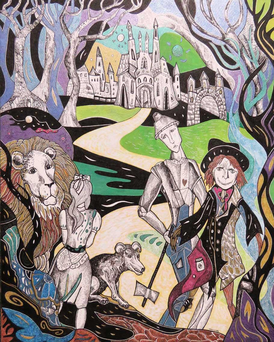 Krešimira Gojanović, ''Put prema čarobnjaku iz Oza'', crtež tuš / kombinirana tehnika na papiru, 50x40 cm