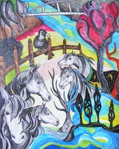 """Krešimira Gojanović, """"Svi ti divni konji"""", crtež tuš / kombinirana tehnika na papiru, 50×40 cm"""
