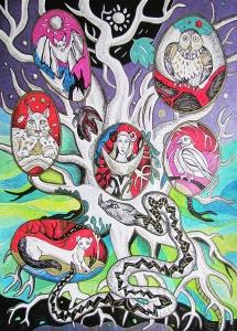 """Krešimira Gojanović, """"The Tree of Life"""", crtež tuš / kombinirana tehnika na papiru, 56×40 cm"""
