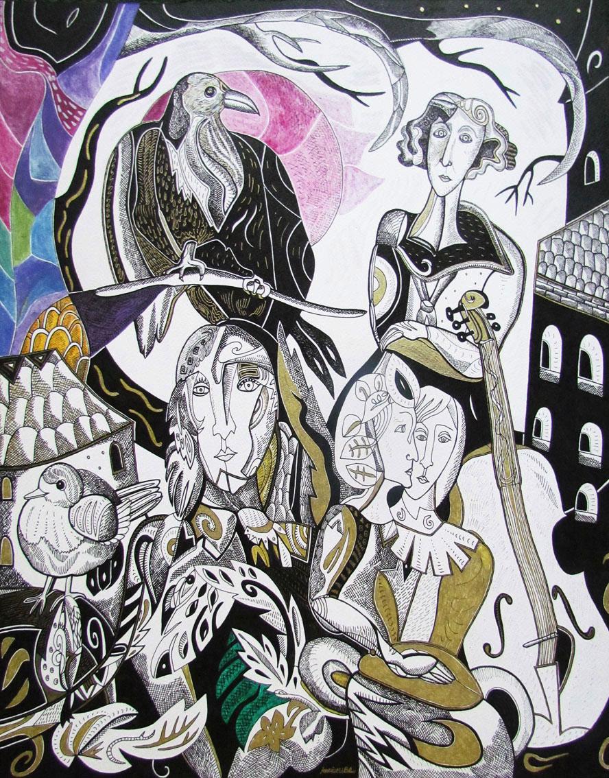 Krešimira Gojanović, ''Zakon za neposlušnog umjetnika'', crtež tuš / kombinirana tehnika na papiru, 50×40 cm