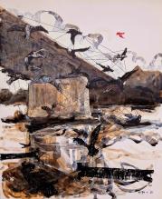 Alfred Freddy Krupa, ''Slobodna ptica - The free bird'', kombinirana tehnika na kartonu, 73x60 cm