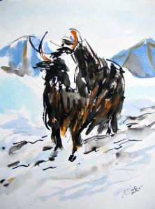 Jelena Martinović, ''Yak pred šatorom'', 39x30 cm, tuš i akvarel na papiru
