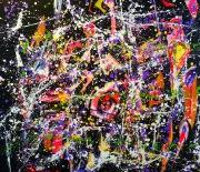 Mladen Žunjić, ''Vibracije izazova 1'', akrili i tekuća ulja na platnu, 90x100 cm