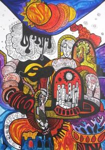 Krešimira Gojanović, ''Sumrak bogova'', crtež tuš na papiru, 70x50 cm