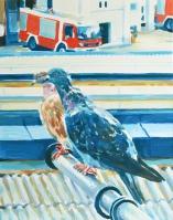 Patricija Purgar, ''Susjedi iz Savske'', akril, 50x39,5 cm