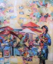 Rada Marković, ''Cvijetni trg 80-ih'', ulje na platnu, 60x50 cm