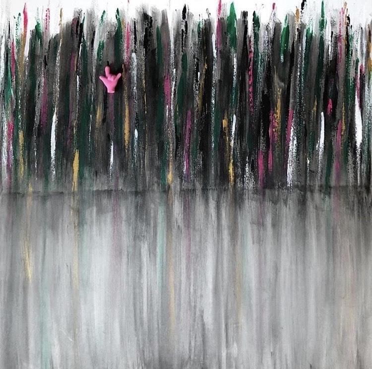 Ana Gutschy Hercigonja, ''Igraj se dok si živ'', akril na platnu + gumica za brisanje, 70x70 cm