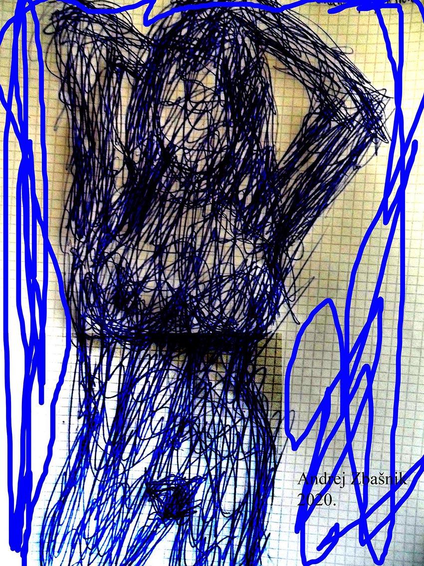 Andrej Zbašnik, ''Intuitivno – energetska anatomija prostora 5'', digitalni crtež, 29x21 cm