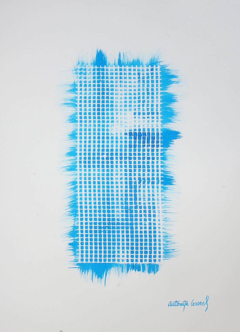 "Antonija Cesarec, ""Mrežasto"", tuš u boji na papiru, 50x35 cm"