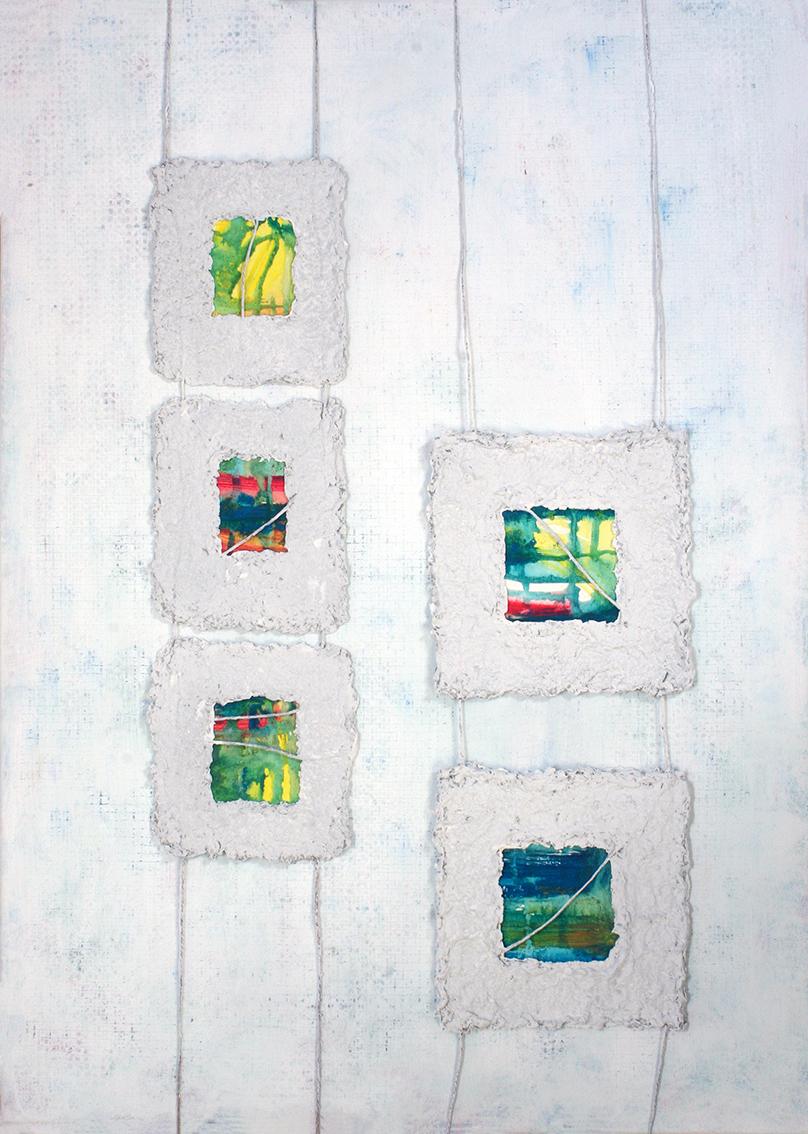 Antonija Cesarec, ''Sužene vizure'', kombinirana tehnika – bricolage, 70x50 cm