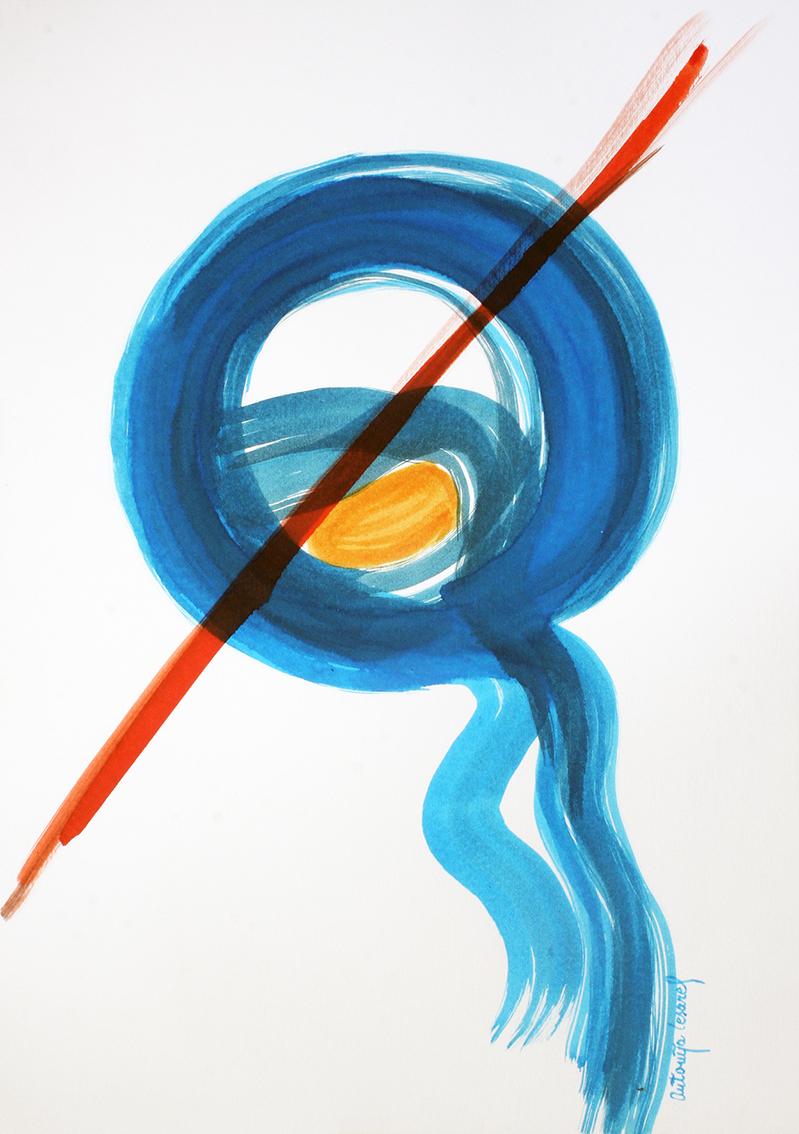 """Antonija Cesarec, """"Vremensko istjecanje"""", tuš u boji na papiru, 50x35 cm"""