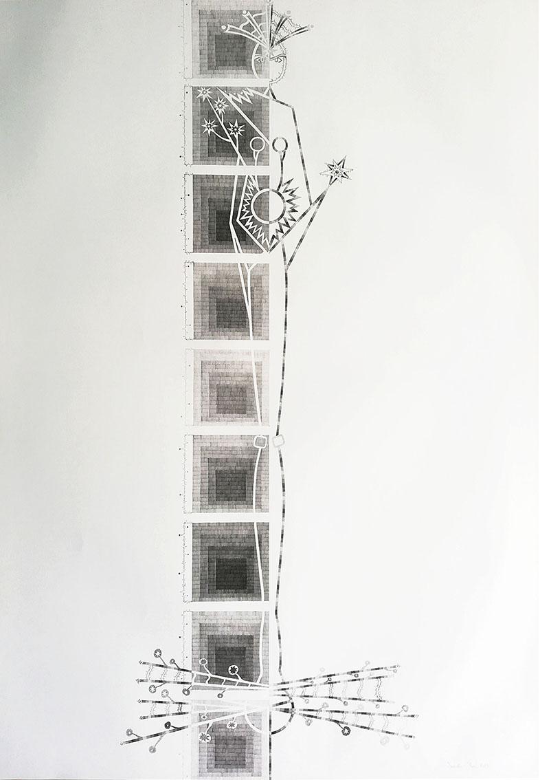 Izabela Hren, ''Svi smo sačinjeni od zvijezda'', olovka na papiru, 101x72 cm