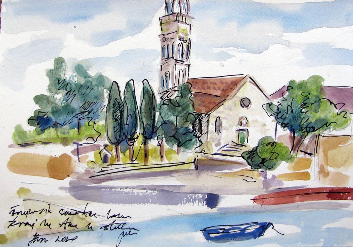 Jelena Martinović, ''Franjevački samostan Hvar'', akvarelirani crtež tušem na papiru, 21x30 cm