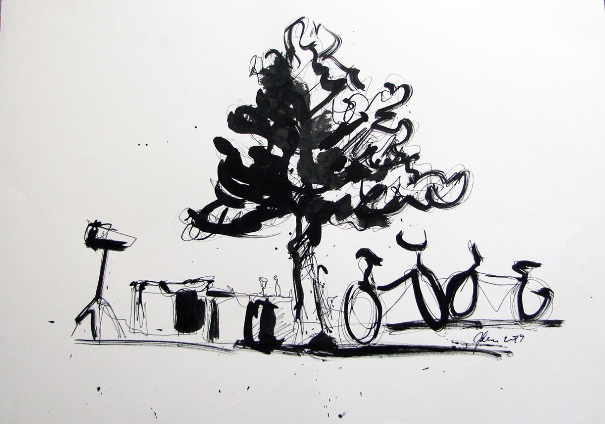Jelena Martinović, ''Špancirfest'', tuš na papiru, 42x60 cm