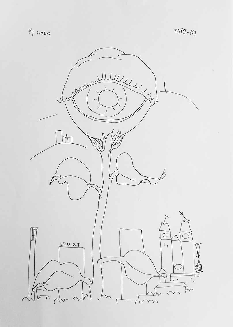 Juraj Jonke, crtež 1, tuš na papiru, 30x21 cm