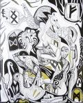 Krešimira Gojanović, ''Bestijarij s runama'', crtež tuš na papiru, 50x40 cm