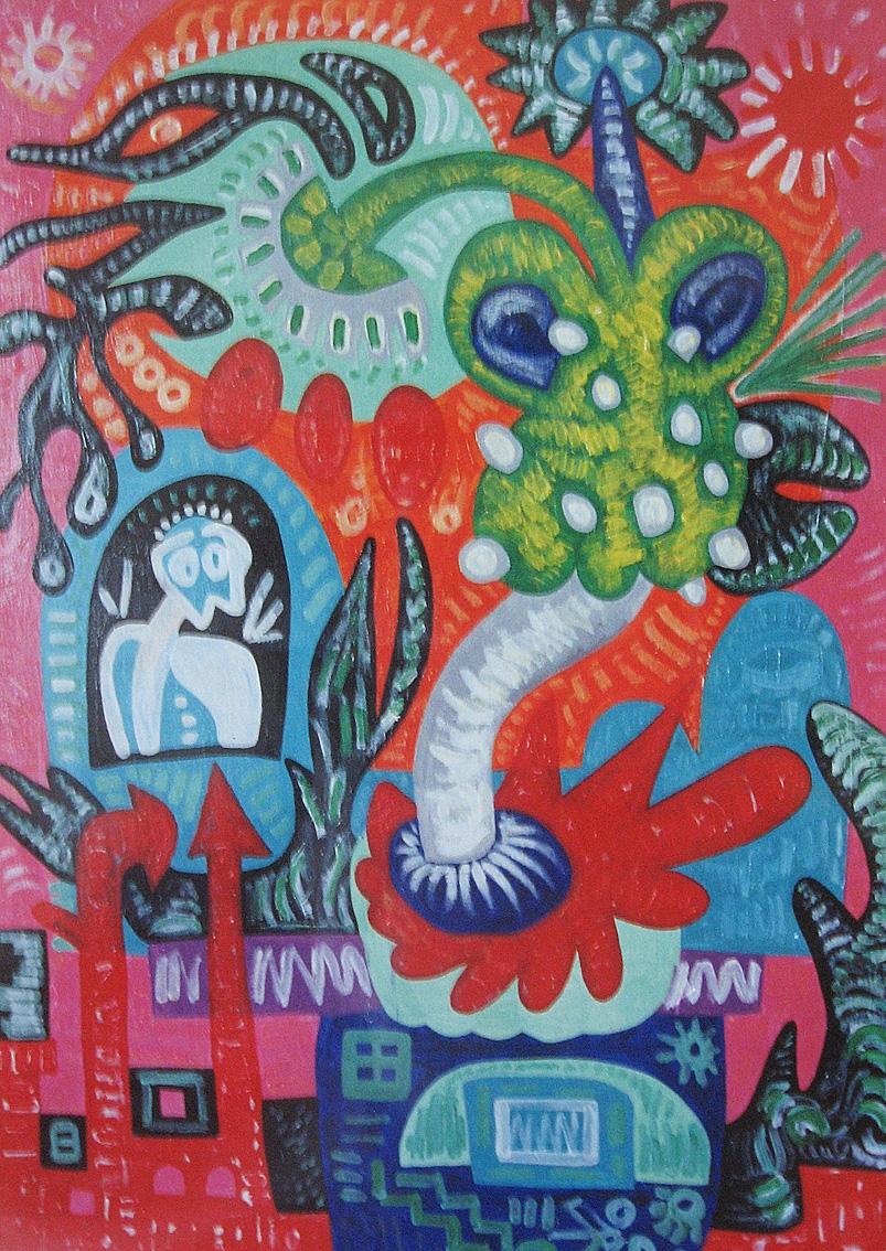 Krešimira Gojanović, ''Rast kroz crveno'', akril na platnu, 70x50 cm