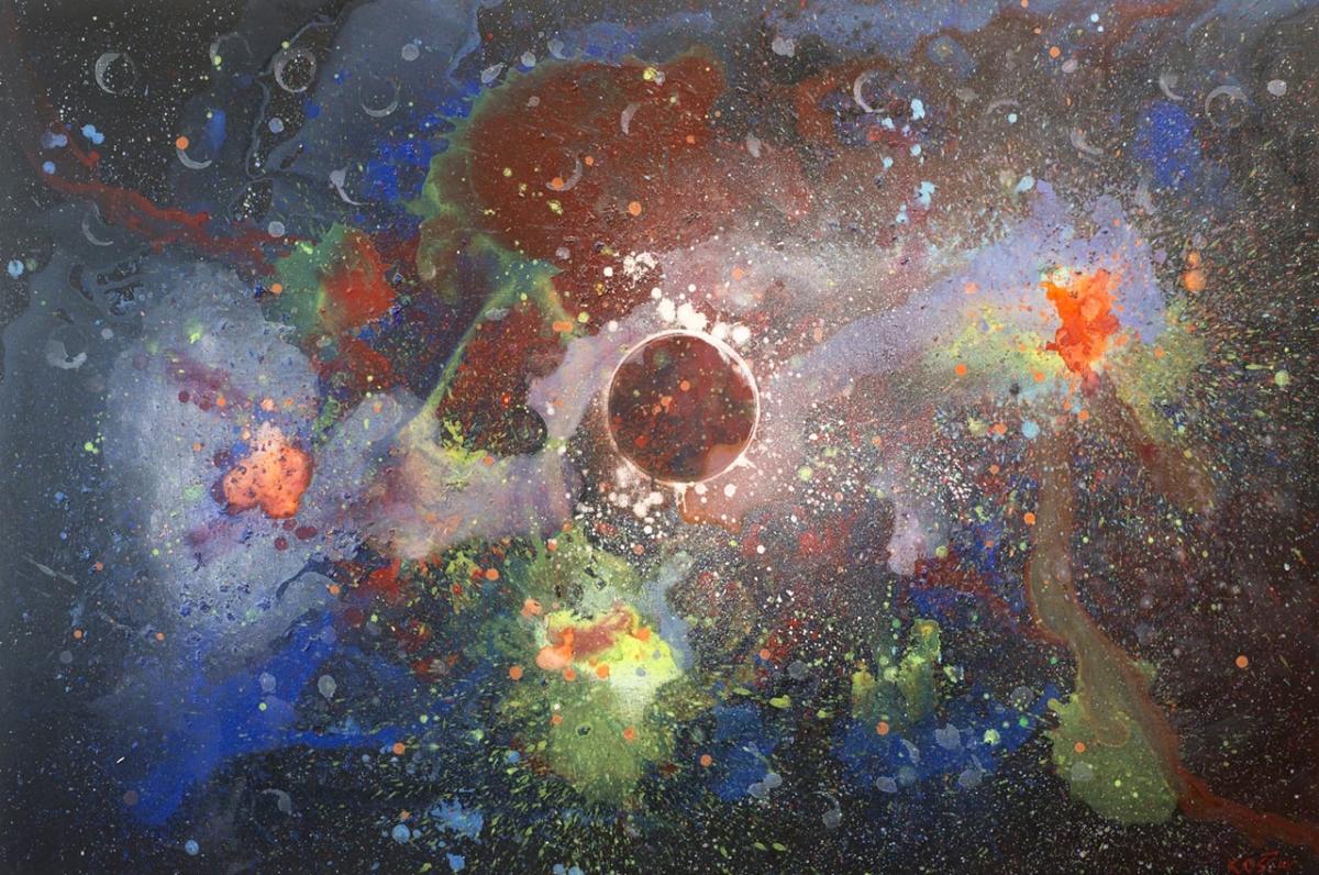 Luka Koščak, ''Svemir(2)'', akril na platnu,100x150 cm