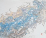 Marija Čingel, ''Aqua viva – Kamo god dođe ova voda, sve ozdravi i oživi'', suminagashi, monotipija (tinta na papiru), 50x65 cm