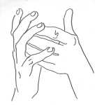 Marina Popović, ''Ruke 1'', flomaster na papiru, 23x20,5 cm