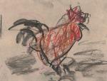Paolo Patrick Hrga, ''Narančasto'', ugljen i pastel, 17x23 cm
