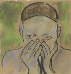 Paolo Patrick Hrga, ''Plavo'', ugljen i kreda u boji, 26,5x25 cm